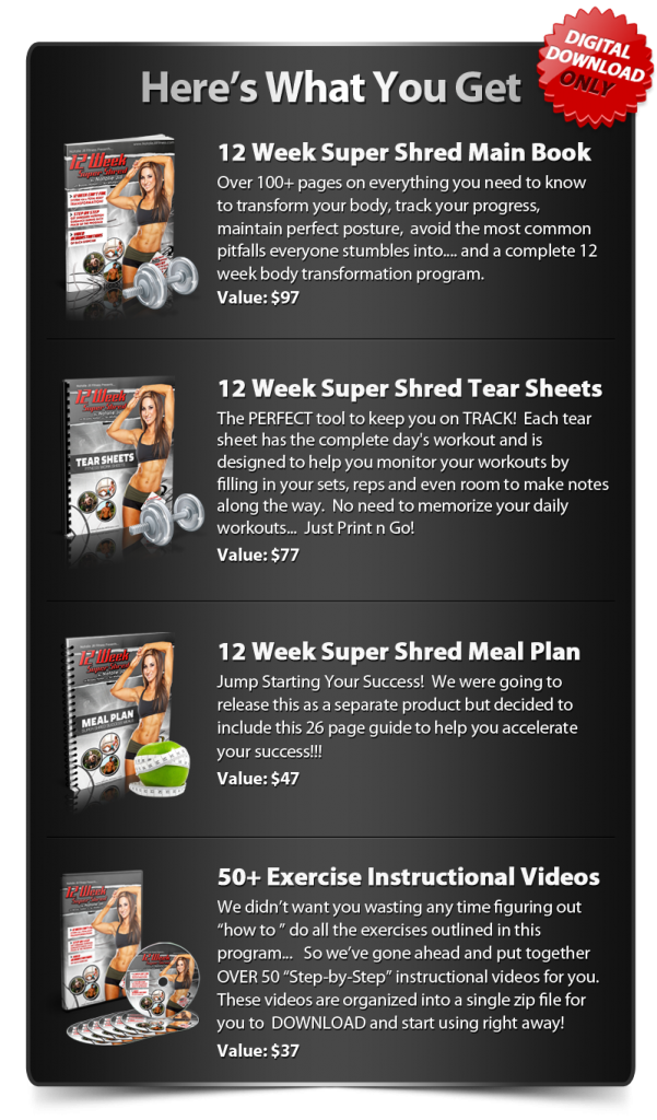 Galerry printable super shred diet plan